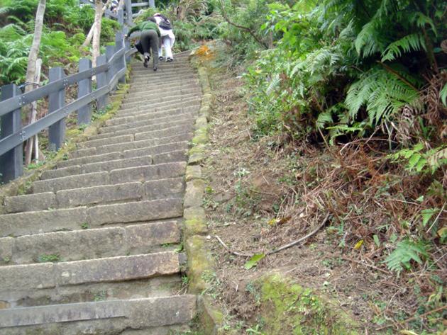 象山から台北101を臨む 急斜面の階段